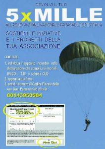 Scrivi il numero di Codice Fiscale dell'Associazione Nazionale Paracadutisti d'Italia: 80143950584